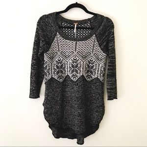 FREE PEOPLE Gray and White Fair Isle Sweater
